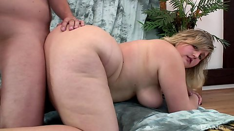 Fucked from the rear with big boobed blonde bbw Ajsa