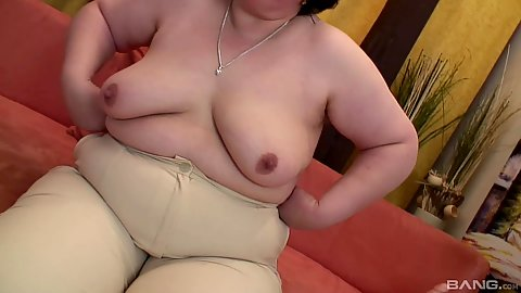 Natural chested mature bbw stripping off her clothes to have sex with dildo toy