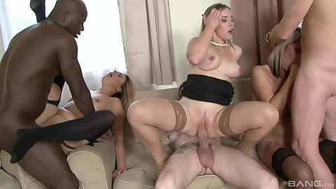 Luci Angel and Ani Blackfox with Brittany Bardot and Melanie Crush taking turns riding large cocks and collecting cum on face