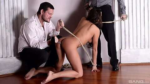 Serving two maters the female skinny bdsm slave Mia Melone crawling on the floor