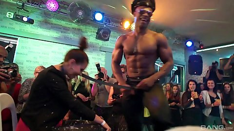 Nice body black dude male stripper doing some cfnm girl teasing