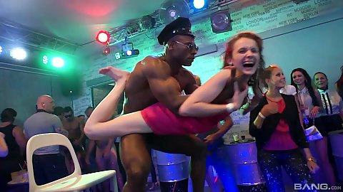 Naked male stripper interracial girl play and large cock oral with other people watching it all at the club