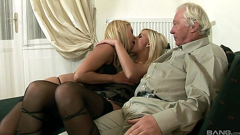 Nikky Thorne and Zafira May kissing while old guy is watching them
