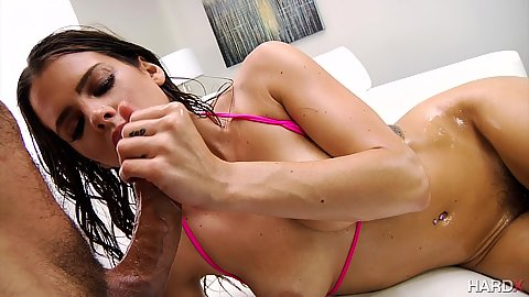 Wet with oil body Keisha Grey giving oral and anal dick sitting