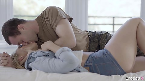 Home coming dude comes home to find his wife AJ Applegate in tight shorts