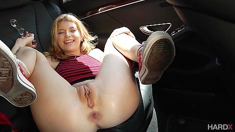 Nice outie pussy petite college girl Arya Fae masturbating in the backseat of ac ar