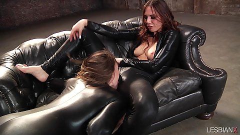 Two girls in sexy catsuits fingering holes Aidra Fox and Tori Black