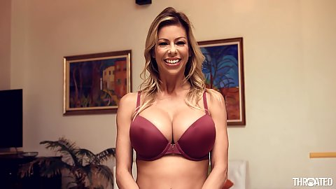Bras and pantiesi Alexis Fawx shows how to slide dick down her throat