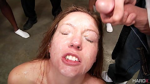 Facial cumshot bukkake with 12 guy gang bang for only girl Maddy O