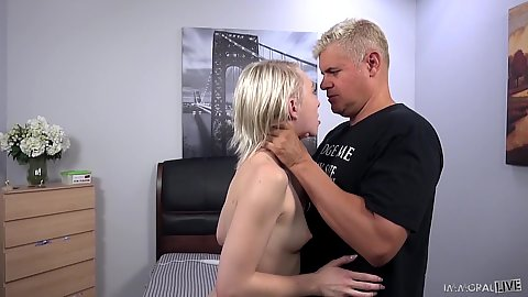 Small chested trimmed vagina petite Trillium is in for a pussy orgasm