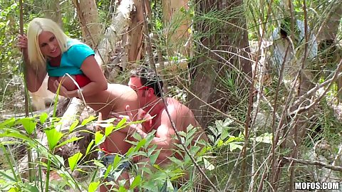 Outdoor voyeur spying on milf Ashlee Chambers having some sneaky fuck in the forest