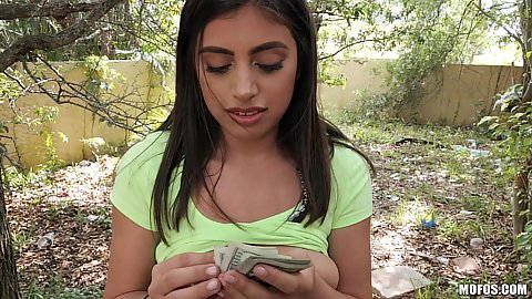 Ella Knox getting cash to show more tits and titty fuck with hairy pussy sex in public outdoors behind a fence