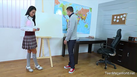 School girl Lexi Dona having a private lesson with teacher and sucks him