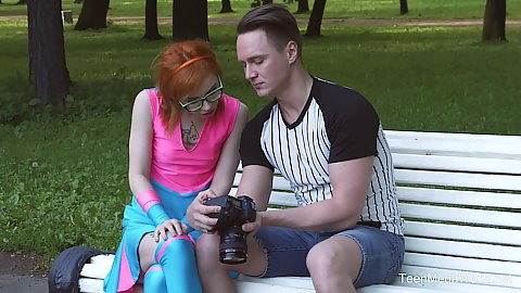 Redhead petite teen in bright outfit outdoors Kira  Roller