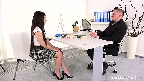 School girl Little Candy meets up with her teacher and shows him what she knows