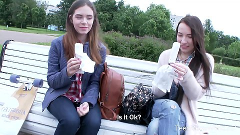 Two girls eating some ice cream outdoors and dude picks them up like two innocent 18 year old Katti Gold and Linda Weasley at the park in public