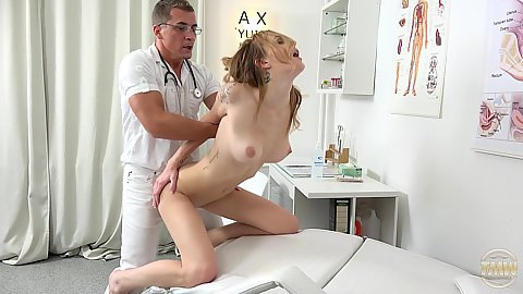 Doctor office sex with leggy medium boobs euro chick Belle Claire and her throbbing dick doc