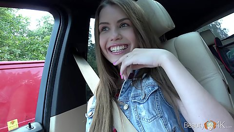 Riding around in a car with picked up fully clothed smiling cute teen Elle Rose