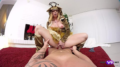 New years raindeer special cosplay fuck from small chested Chrissy Fox in pov