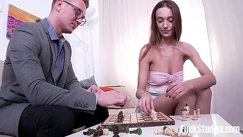 Eager 18 year old girl Hazel Dew playing some chess and feeling wet