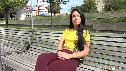 Tight pants seductive public teen brunette Apolonia picked up for quick fuck action