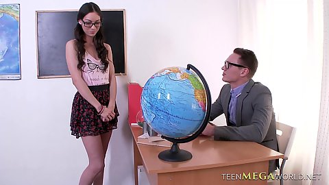 School girl in the teachers office Arwen Gold wearing glasse and teasing male