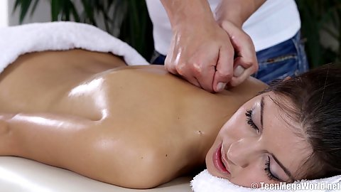 Solid Susan Ayn relaxing during pressure sensitive massage and jerks masseuse dick