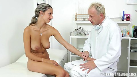 Nicely titted all natural skinny college girl Tracy feels horny for doctors penis