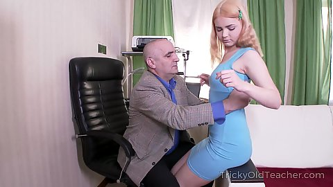 Blonde young girl Lolly Small loves to please old perverted senior men