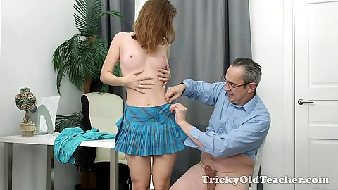 Perverted old age teacher touching and enjoying a dick ride from spunky young brunette cutie Sofy Torr