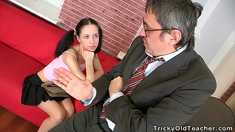 Teacher and young little 18 year old cutie Stella talk about having some sex and actually gives him oral