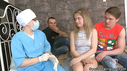 Doctor and 2 guys all wish to see 18 year old amateur Laura get naked and pumped