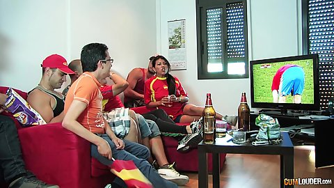 Sexy party soccer fan girls Yoha Gálvez watching the football match and wet sucking with saliva some large cocks