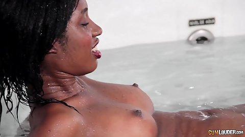 Bath time with natural chested black girl Boni Lulo having one good set of perky breasts and giving oral