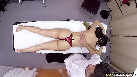 Naked except her underwear on table oil massage with Estrellita including some inappropriate fingering which she enjoys