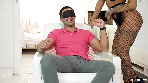 Feisty Susy Gala making a comeback with blindfolded guy seduction and sucking large rod
