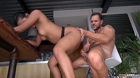 Dude is relaxing in his chari while a tight assed round butt latina Indira gets nailed in the ass