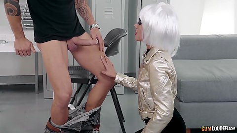 Apolonia is doing a spoof parody pretending to be a silver hair sexbot