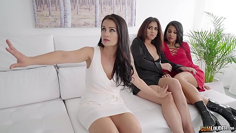 Threesome super girls Bianka Blue and Aysha and Apolonia are in a bit of a cum debt