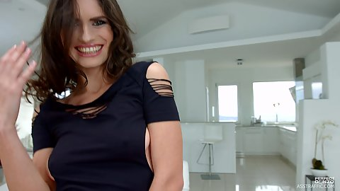 Lustrous euro babe in sexy clothes Lana Seymour getting naked and putting fingers in moist hole