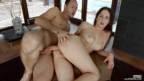 Not very shy girl Emily Ross has a joyfull outie snatch and gets thrusted in the butthole