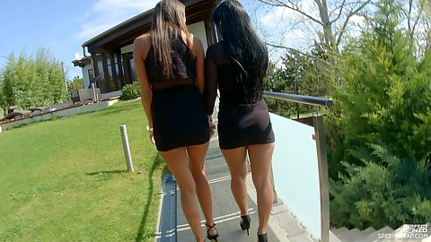 Two girl babes in black dresses walking the private garden we have outdoors Rozalina and Adriana