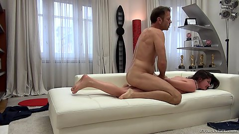 Casting fuck with rear pounded little brunette happy slut Francesca DiCaprio getting intimate and horny