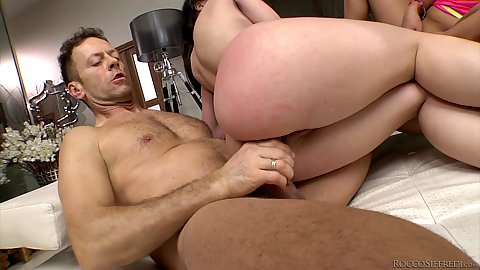 Anal pounding with a bit of choking from Spanish and Russian duo Ally Breelsen and Nekane hard fucked like slaves by Rocco
