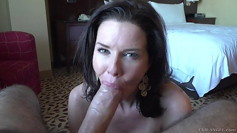 Huge cock stacked milf oral service with Veronica Avluv in pov