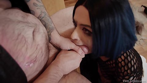 Rough sex dick shoving in goth raven haired girl Leigh Raven and then fucked standing up from behind