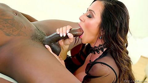 Sloppy deep throat and a large chested titty fuck with black cock white girl milf Ariella Ferrera deep throating well