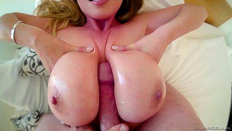 Great wobbly big asian boob milf Kianna Dior slippery titty fuck in pov