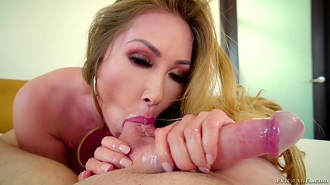 Scrotum eating asian milf Kianna Dior pov fellatio and cumshot in her mouth