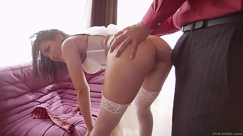 Corset and stockings wearing plumb butt Gabriella Paltrova fucked in the anal cavity standing up with gaping